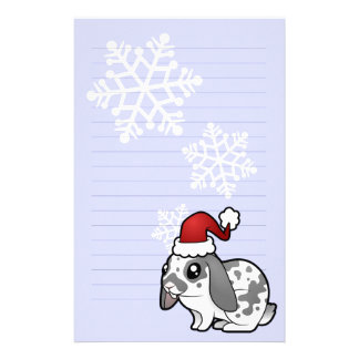 Christmas Rabbit (floppy ear smooth hair) Custom Stationery