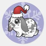 Christmas Rabbit (floppy ear smooth hair) Round Sticker