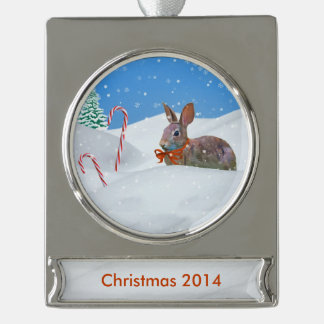 Christmas, Rabbit, Snow, Candy Canes, Customizable Silver Plated Banner Ornament