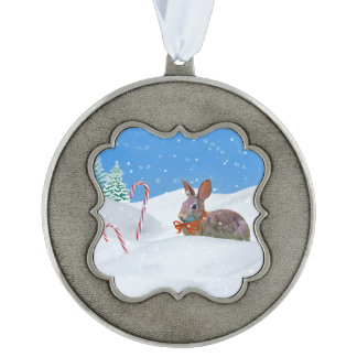 Christmas, Rabbit, Snow, Candy Canes Scalloped Pewter Ornament