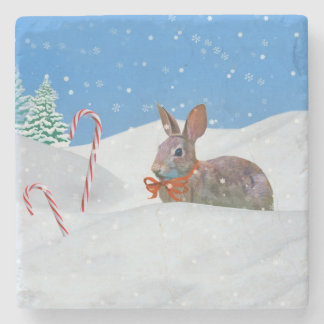 Christmas, Rabbit, Snow, Candy Canes Stone Coaster