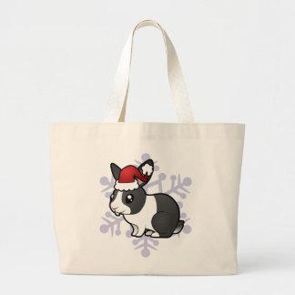 Christmas Rabbit (uppy ear smooth hair) Canvas Bags