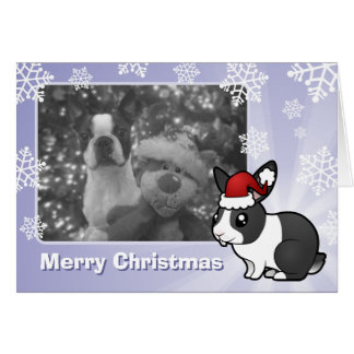 Christmas Rabbit (uppy ear smooth hair) Greeting Cards