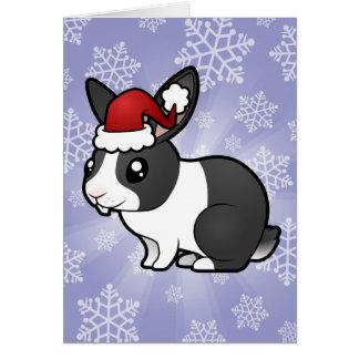 Christmas Rabbit (uppy ear smooth hair) Greeting Card