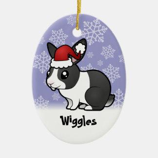 Christmas Rabbit (uppy ear smooth hair) Ceramic Ornament
