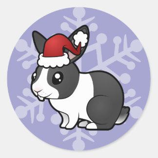 Christmas Rabbit (uppy ear smooth hair) Classic Round Sticker