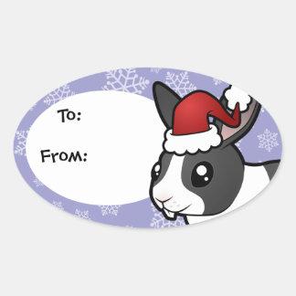 Christmas Rabbit (uppy ear smooth hair) Oval Sticker