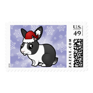 Christmas Rabbit (uppy ear smooth hair) Postage Stamp