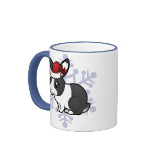 Christmas Rabbit (uppy ear smooth hair) Ringer Mug