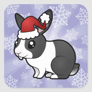 Christmas Rabbit (uppy ear smooth hair) Square Sticker