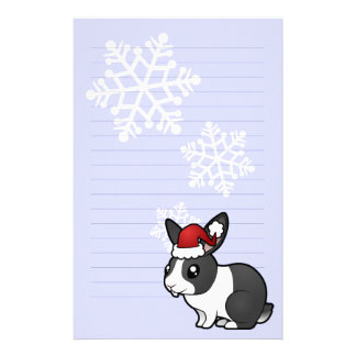 Christmas Rabbit (uppy ear smooth hair) Personalized Stationery