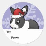 Christmas Rabbit (uppy ear smooth hair) Round Sticker