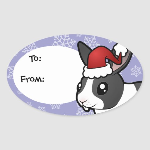 Christmas Rabbit (uppy ear smooth hair) Stickers
