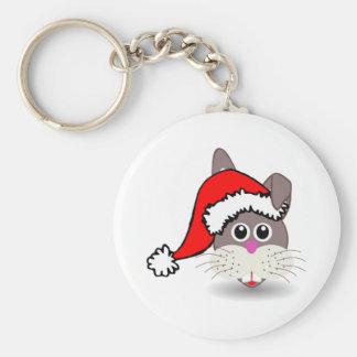 Christmas Rabbit Wearing Santa Hat Key Chain