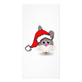 Christmas Rabbit Wearing Santa Hat Custom Photo Card
