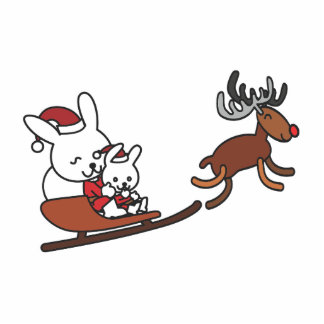 Christmas rabbits on a sleigh statuette