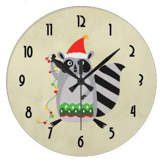 Christmas Raccoon Holding Holiday Lights Large Clock