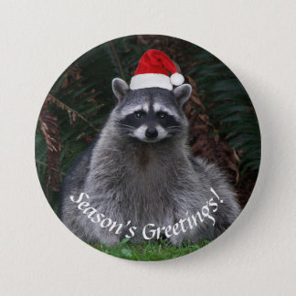 Christmas Raccoon Holiday Button