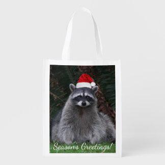 Christmas Raccoon Holiday Grocery Bag
