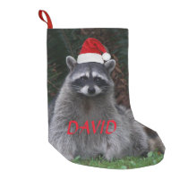 Christmas Raccoon Personalized Small Christmas Stocking