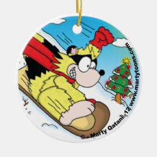 Christmas Raccoon Sledding Round Ornament