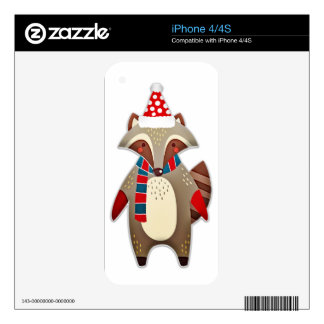 Christmas Raccoon  with santa hat Skin For The iPhone 4S
