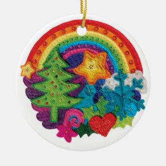 Christmas Rainbow Decoration - A Funky Felt Design Ceramic Ornament