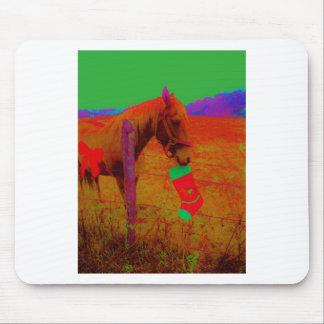 Christmas Rainbow Horse Mouse Pad
