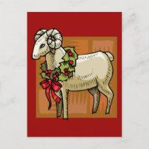 Christmas Ram Holiday Postcard