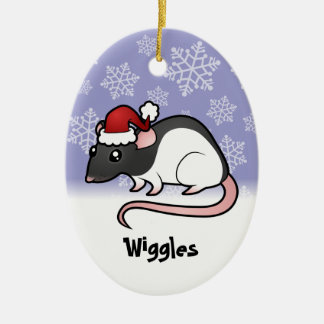 Christmas Rat (add your pets name) Ceramic Ornament