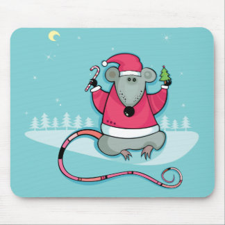Christmas Rat in Santa Suit Mouse Pad