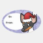 Christmas Rat Terrier / Toy Fox Terrier Oval Sticker