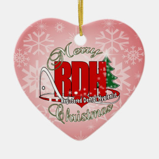 CHRISTMAS RDH Registered Dental Hygienist Double-Sided Heart Ceramic Christmas Ornament