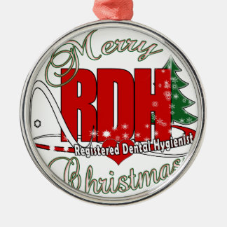 CHRISTMAS RDH Registered Dental Hygienist Round Metal Christmas Ornament