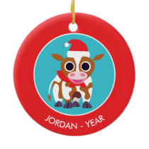 Christmas Reba the Cow Ceramic Ornament
