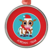 Christmas Reba the Cow Metal Ornament