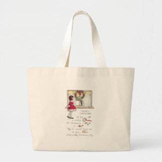 Christmas Rebus with Girl and Cat in Window Tote Bag