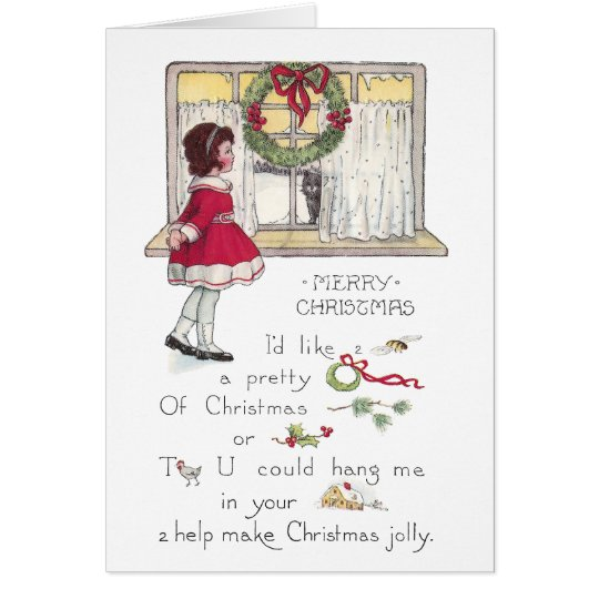 Christmas Rebus with Girl and Cat in Window Card