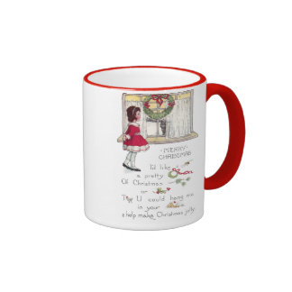 Christmas Rebus with Girl and Cat in Window Mugs