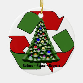 Christmas Recyclables Double-Sided Ceramic Round Christmas Ornament