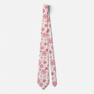 Christmas Red Abstract Snowflakes On White Neck Tie