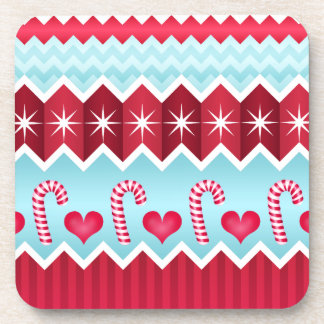 Christmas Red And Blue Chevron Stripes Pattern Coaster