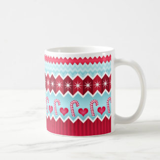 Christmas Red And Blue Chevron Stripes Pattern Coffee Mugs