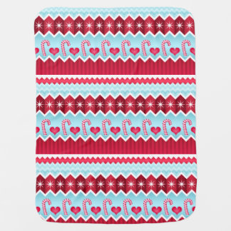 Christmas Red And Blue Chevron Stripes Pattern Receiving Blanket