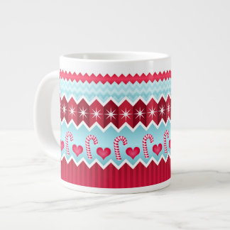 Christmas Red And Blue Chevron Stripes Pattern Extra Large Mugs