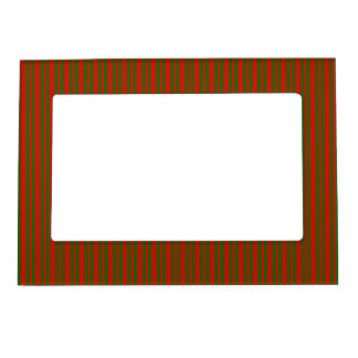 Christmas Red and Christmas Green Stripes Magnetic Picture Frame