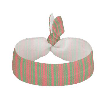 Aqua Christmas Red and Christmas Green Stripes Ribbon Hair Tie