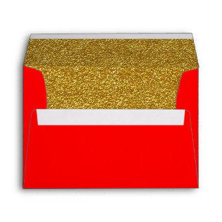 Christmas Red and Gold Custom Envelope