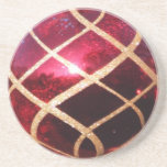 Christmas Red and Gold Sandstone Coaster