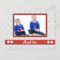 Christmas red and gray thank you for gifts photo announcement postcard